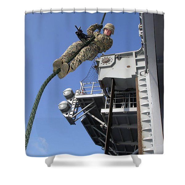 A Soldier Fast-ropes From The Rear Shower Curtain by Stocktrek Images