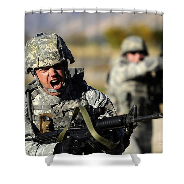 A Soldier Shows His Emotions Shower Curtain by Stocktrek Images