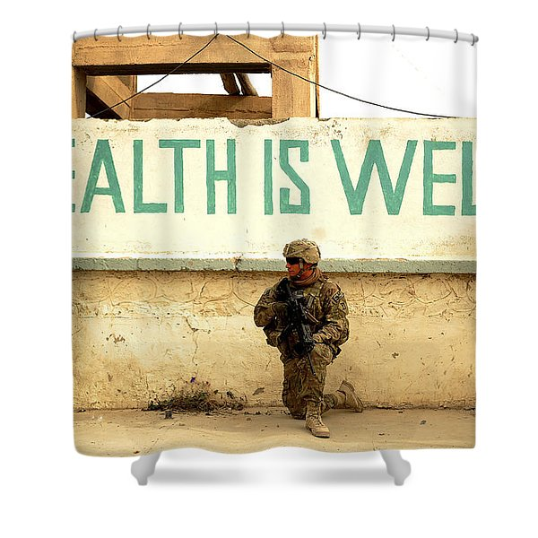 A Soldier Talks To An Afghan Boy Shower Curtain by Stocktrek Images