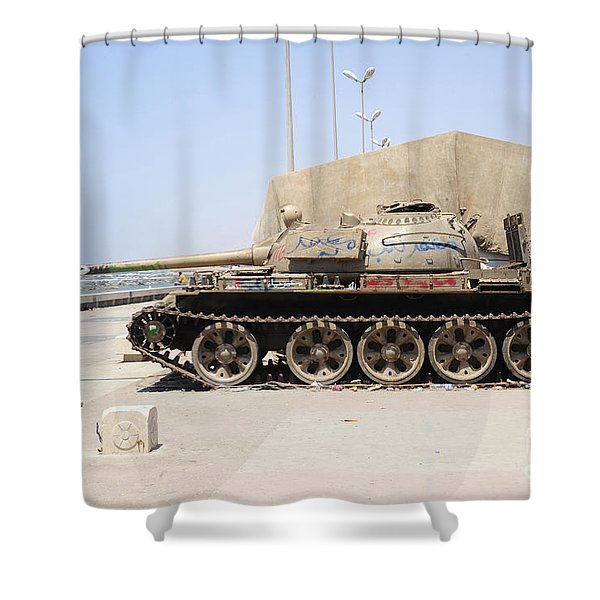 A T-55 Tank On The Seafront Shower Curtain by Andrew Chittock