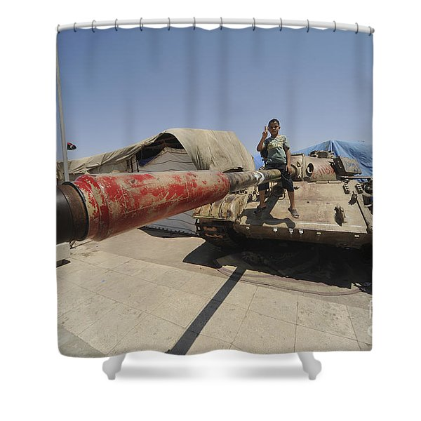 A T-55 Tank With Two Children Playing Shower Curtain by Andrew Chittock