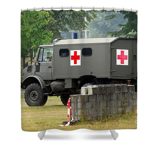 A Unimog In An Ambulance Version In Use Shower Curtain by Luc De Jaeger