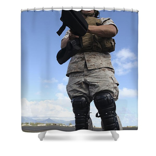 A U.s. Marine Dons Riot Gear For Drills Shower Curtain by Stocktrek Images