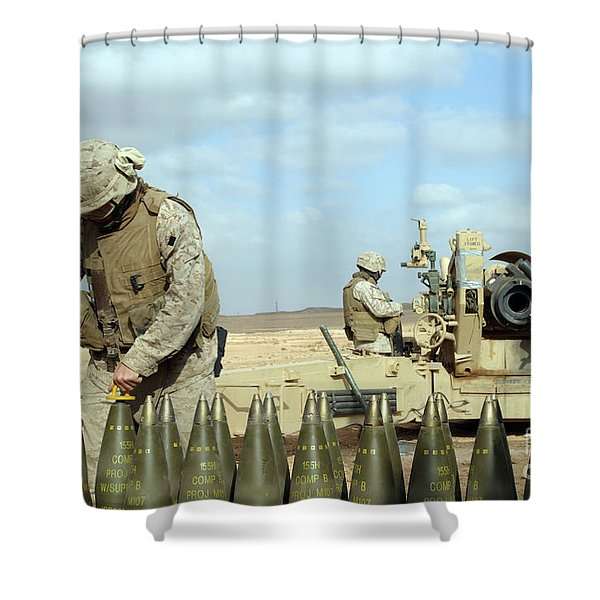 A U.s. Marine Prepares Howitzer Rounds Shower Curtain by Stocktrek Images