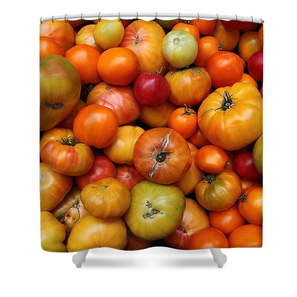 A Variety Of Fresh Tomatoes - 5d17812-long Shower Curtain by Wingsdomain Art and Photography