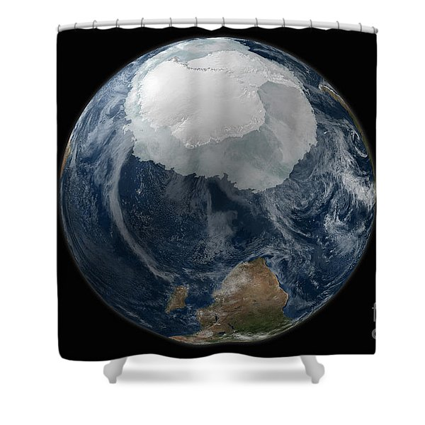 A View Of The Earth With The Full Shower Curtain by Stocktrek Images