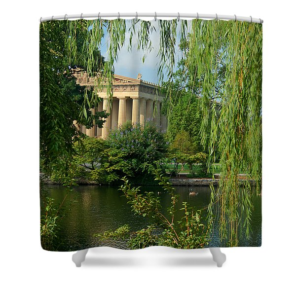 A View of the Parthenon 8 Shower Curtain by Douglas Barnett