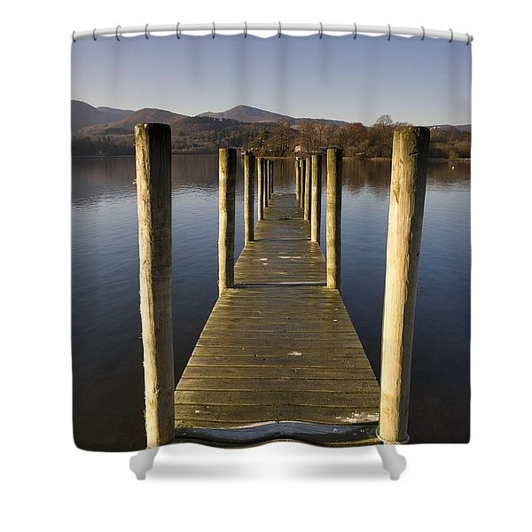 A Wooden Dock Going Into The Lake Shower Curtain by John Short