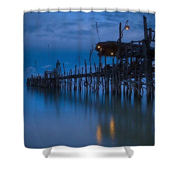 A Wooden Pier With Lights On It At Shower Curtain by David DuChemin