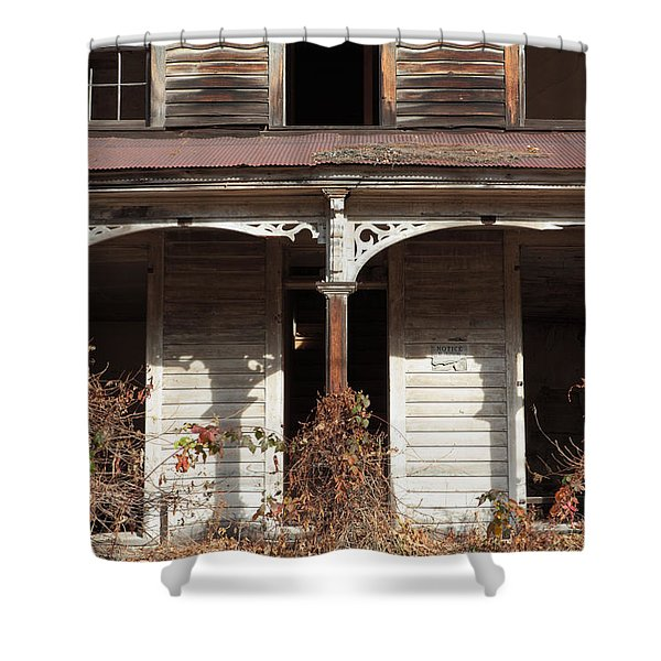 Abandoned House Facade Rusty Porch Roof Shower Curtain by John Stephens