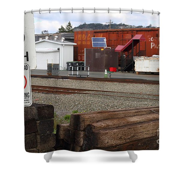 Active Railroad . No Tresspassing Shower Curtain by Wingsdomain Art and Photography