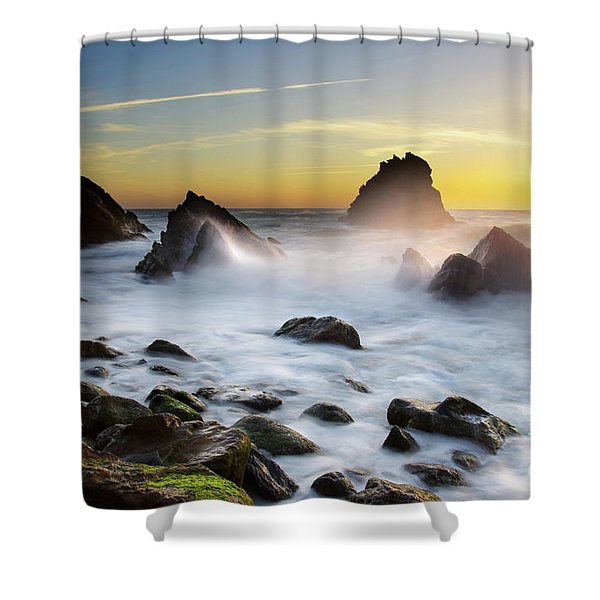 Adraga Beach Shower Curtain by Carlos Caetano
