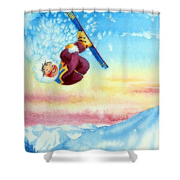 Aerial Skier 13 Shower Curtain by Hanne Lore Koehler