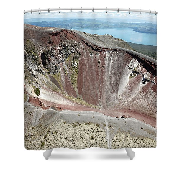 Aerial View Of Rhyolite Dome Complex Shower Curtain by Richard Roscoe