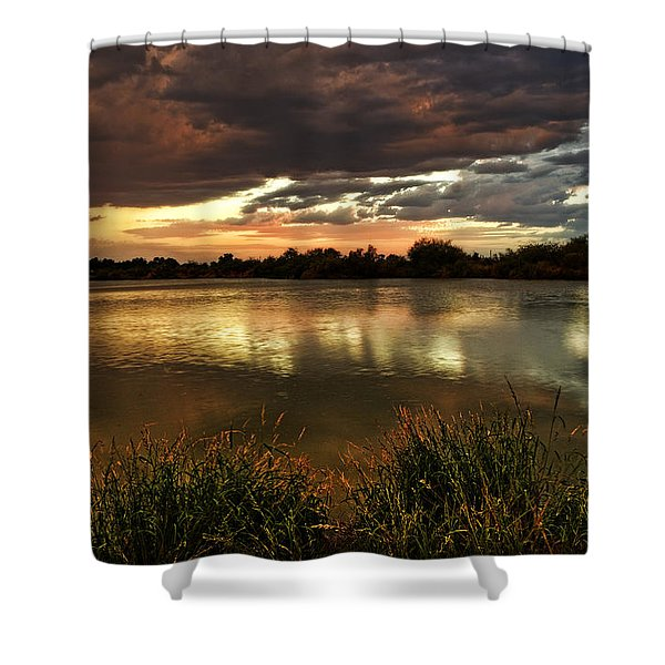 Afterglow Shower Curtain by Saija  Lehtonen