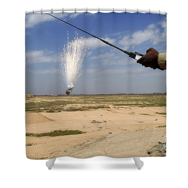 Airmen Conduct A Controlled Detonation Shower Curtain by Stocktrek Images