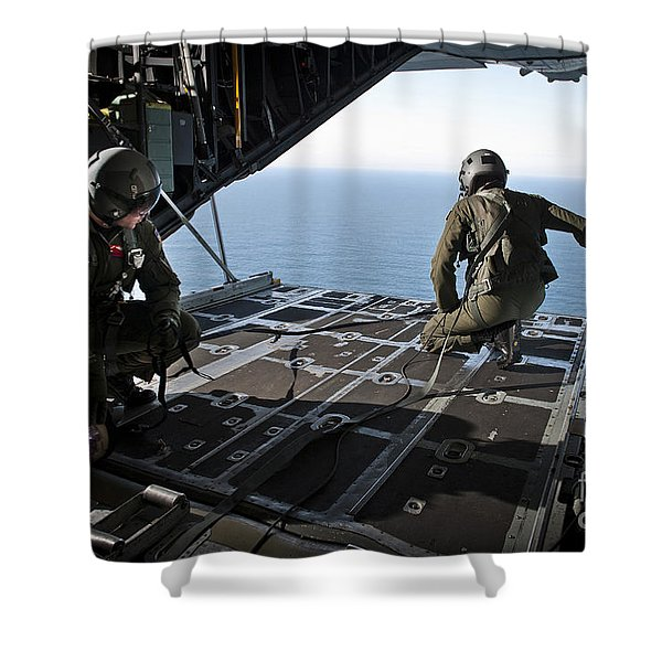 Airmen Wait For The Signal To Deploy Shower Curtain by Stocktrek Images