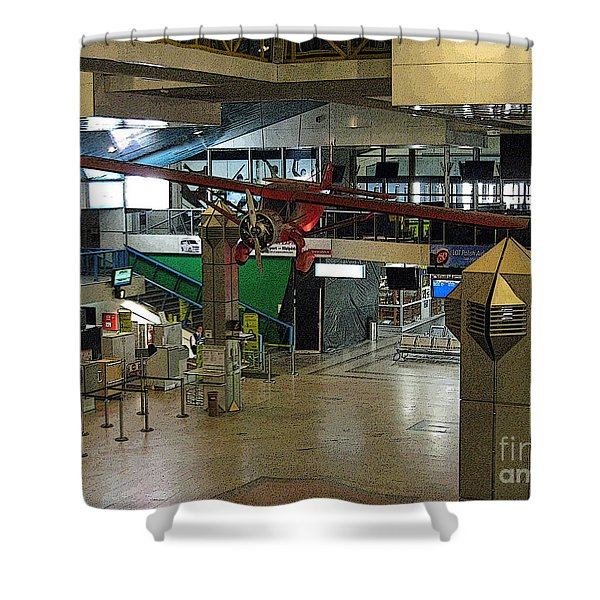 Airport Before The Busy Day. Vilnius. Lithuania. Shower Curtain by Ausra Paulauskaite