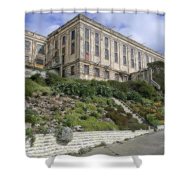 ALCATRAZ CELL HOUSE WEST FACADE Shower Curtain by Daniel Hagerman