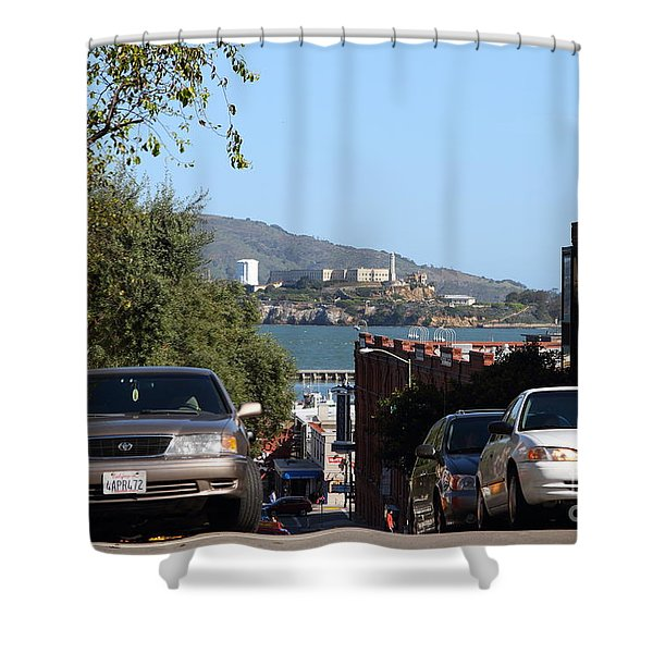 Alcatraz Island Through The Hyde Street Pier In San Francisco California . 7d13973 Shower Curtain by Wingsdomain Art and Photography