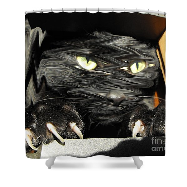 Alice's cat Shower Curtain by Rebecca Margraf