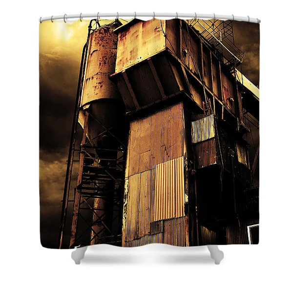Alive And Well In America . The Old Concrete Plant In Berkeley California . Golden . 7d13967 Shower Curtain by Wingsdomain Art and Photography