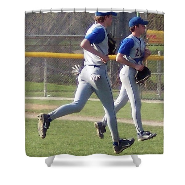 All Air Baseball Players Running Shower Curtain by Thomas Woolworth