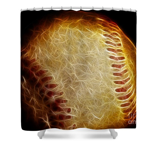 All American Pastime - The Fastball Shower Curtain by Wingsdomain Art and Photography