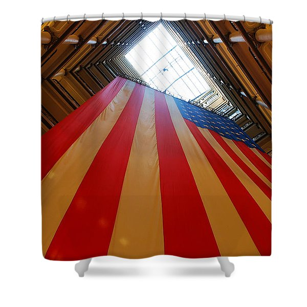 American Flag in Marshall Field's Shower Curtain by Paul Ge