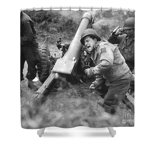 American Howitzers Shell German Forces Shower Curtain by Stocktrek Images