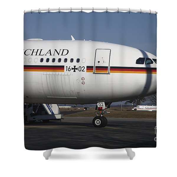 An Airbus 340 Acting As Air Force One Shower Curtain by Timm Ziegenthaler