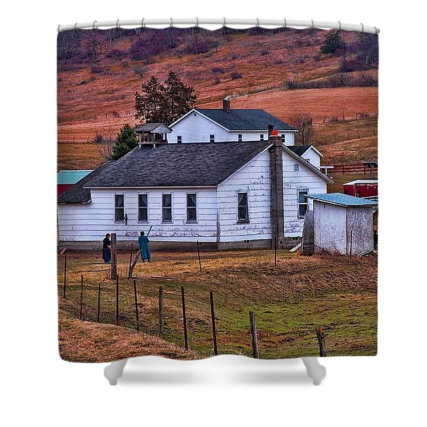 An Amish Farm Shower Curtain by Tommy Anderson