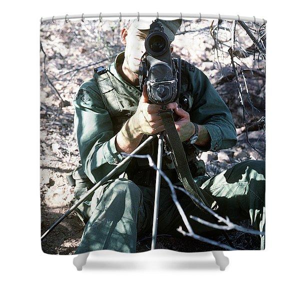 An Army Ranger Sets Up An Anpaq-1 Laser Shower Curtain by Stocktrek Images