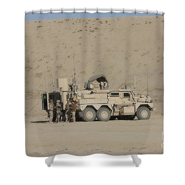 An Eod Cougar Mrap In A Wadi Shower Curtain by Terry Moore