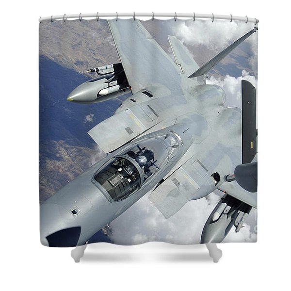 An F-15 Eagle Pulls Away From A Kc-135 Shower Curtain by Stocktrek Images