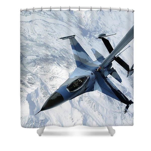 An F-16 Aggressor Sits In Contact Shower Curtain by Stocktrek Images