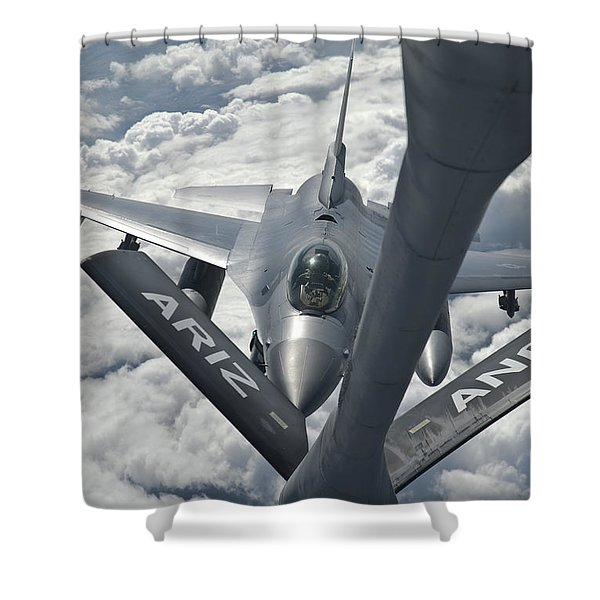 An F-16 From Colorado Air National Shower Curtain by Giovanni Colla