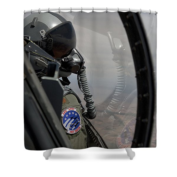 An F-16 Pilot Checks The Position Shower Curtain by HIGH-G Productions