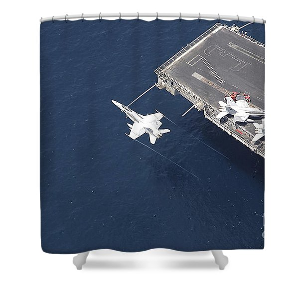 An Fa-18 Hornet Flys Over Aircraft Shower Curtain by Stocktrek Images