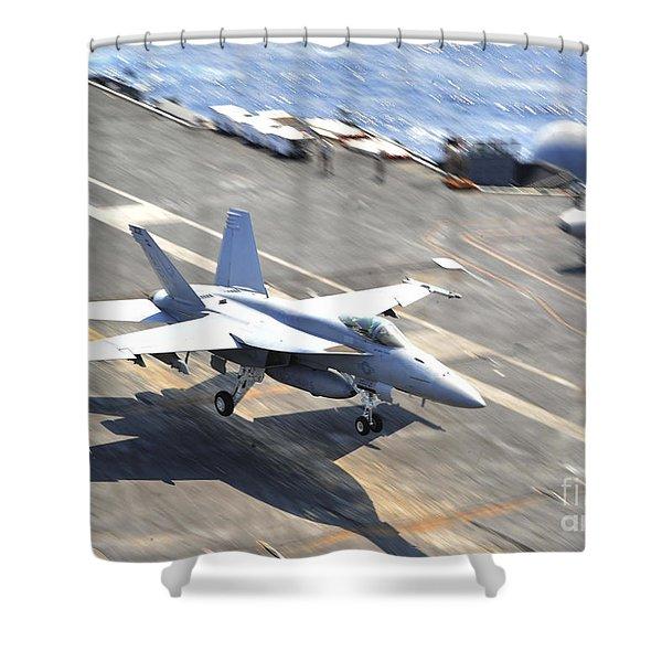 An Fa-18e Super Hornet Lands Aboard Shower Curtain by Stocktrek Images
