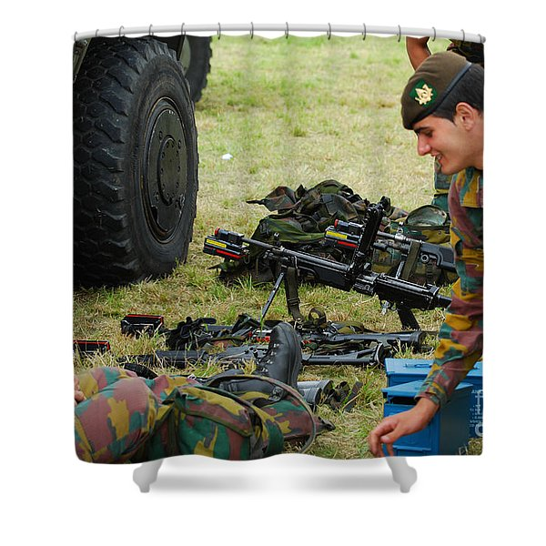 An Infantry Unit Of The Belgian Army Shower Curtain by Luc De Jaeger