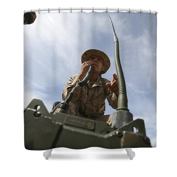 An Officer Conducts A Radio Check Shower Curtain by Stocktrek Images