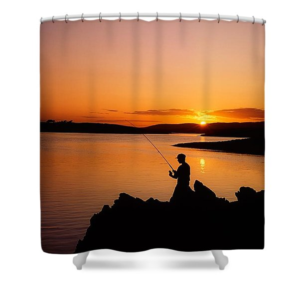 Angler At Sunset, Roaring Water Bay, Co Shower Curtain by The Irish Image Collection