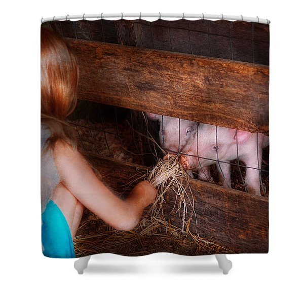 Animal - Pig - Feeding piglets  Shower Curtain by Mike Savad