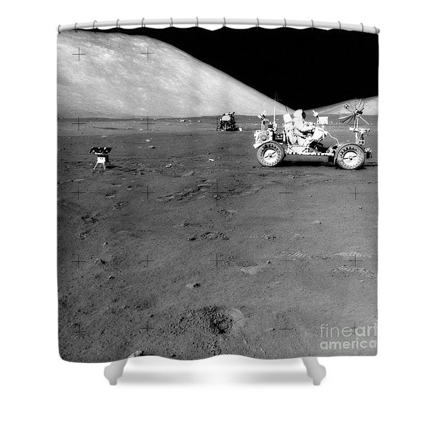 Apollo 17 Image Of Land Rover On Moon Shower Curtain by Stocktrek Images
