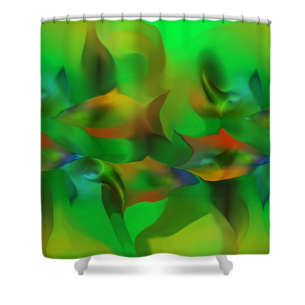 Aqua Residents Shower Curtain by David Lane