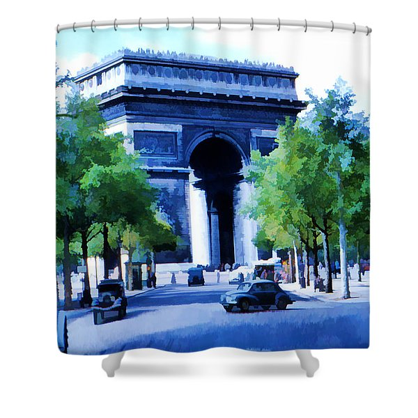 Arc de Triomphe 1954 Shower Curtain by Chuck Staley