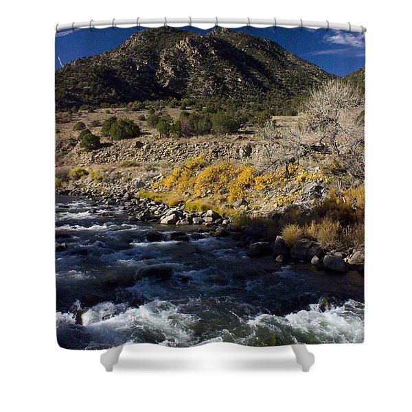 Arkansas River Autumn Shower Curtain by Ellen Heaverlo