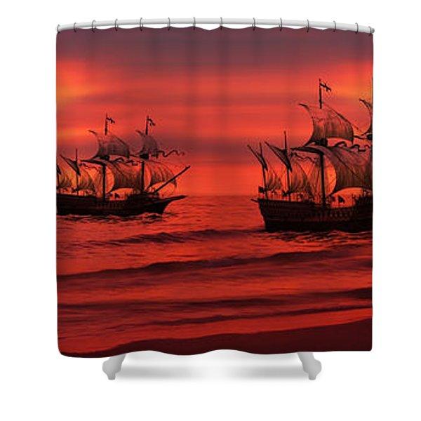 Armada Shower Curtain by Lourry Legarde