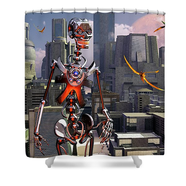 Artists Concept Of A City Of The Future Shower Curtain by Mark Stevenson